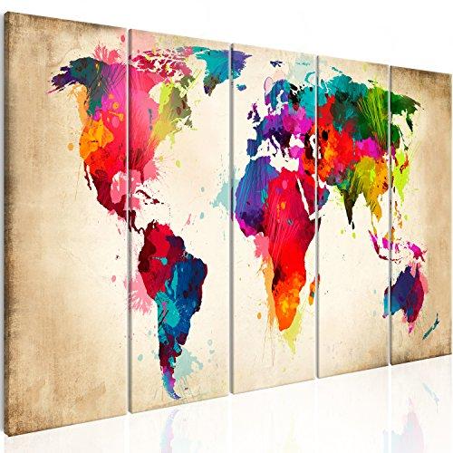 murando - Bilder Weltkarte 200x80 cm Vlies Leinwandbild 5 Teilig Kunstdruck modern Wandbilder XXL Wanddekoration Design Wand Bild - Abstrakt bunt Landkarte Reise k-A-0247-b-n