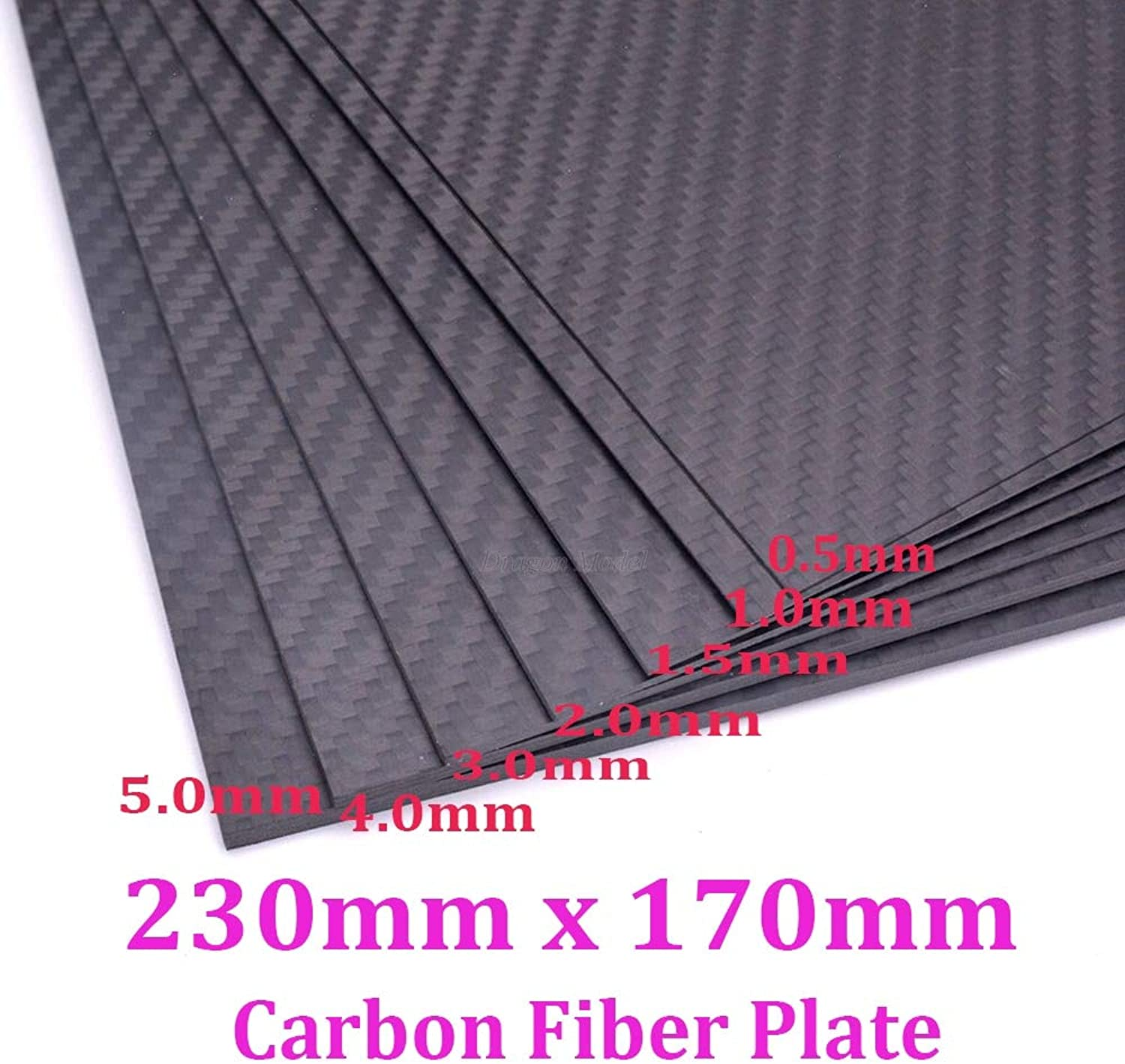 Laliva Real Carbon Fiber Plate Panel Sheets 230mm X 170mm 0.5mm 1mm 1.5mm 2mm 3mm 4mm 5mm Thickness Composite Hardness Material for RC - (color  1.5mm Thickness)