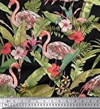 Soimoi Black Cotton Poplin Fabric Flamingo & Leaves Tropical Print Fabric by Yard 56 Inch Wide