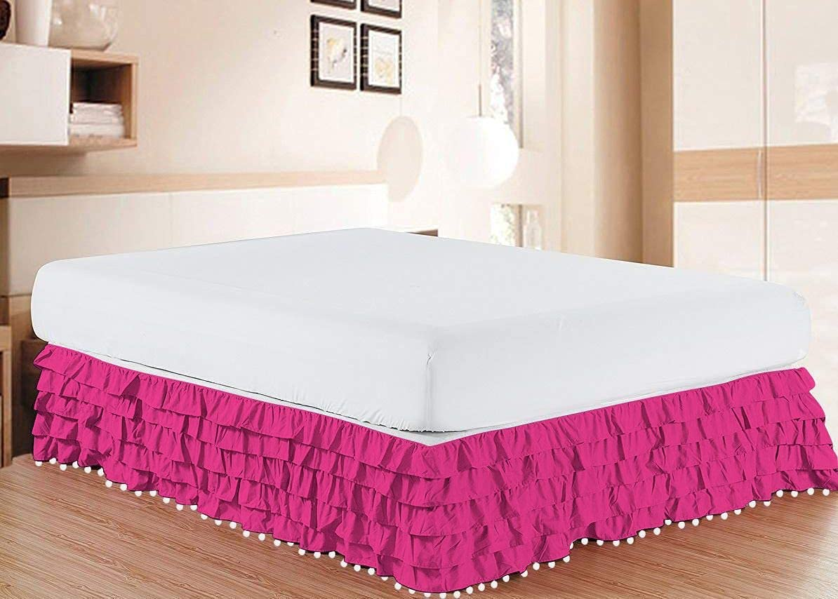 NG Linen Outlet sale Oakland Mall feature Luxury Pom Multi 100% Ruffle Cott Egyptian BedSkirt