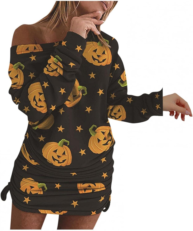 Plus Size Women Halloweeen Dress Sexy Bodycon Pattern Long Sleeve Dress Off Shoulder Elegant Midi Pencil Party Dresses
