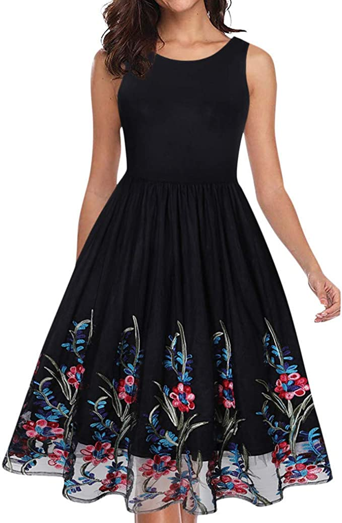 Mayogo Damen Kleider Festliche Kleider Fur Damen Elegant Sommerkleid Chiffon Kleid Festliches Cocktail Party Kleid Kurz A Linie Blumenmuster Amazon De Bekleidung