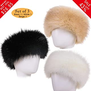 FAITH YN Faux Fur Headband with Elastic Stretch Plush Fur Hat Winter Ear  Warmer Earmuff Ski b5b2328c7269
