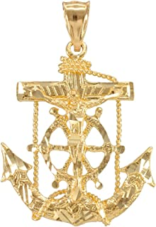 18K or Jaune Ancre Corde Charme Pendentif lisse Lumineux Brillant Made in Italy