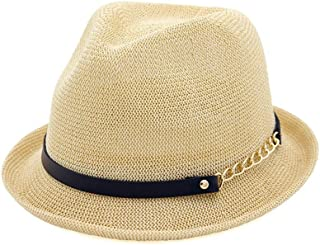 PengCheng Pang Women Straw Sun Hat Spring Summer Jazz Hat Fedora Hat Sunshade Straw Hat Simple Curling Small Hat (Color : Khaki, Size : 56-58CM)