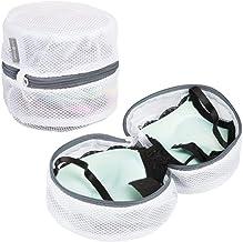 mDesign Set da 2 Sacchetti per Lavatrice Rotondi – Rete per Lavatrice Ideale per Reggiseni e Biancheria Intima – Accessori Lavatrice Ideali per Proteggere i Capi delicati – Bianco