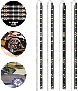 Geeon LED Strip Lights Waterproof 12V 6000K Daylight White for Auto Car Truck Motorcycle Boat Interior Lighting UL Listed 30CM/12'' 3528 SMD Pack of 4