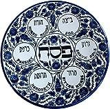 Blue Flowers - Passover SEDER Plate - Jewish Dish Armenian Ceramic Hebrew Israel Judaica G...