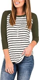 Women's 3/4 Sleeve Raglan Striped T Shirt Baseball Tunic Tops Blouse
