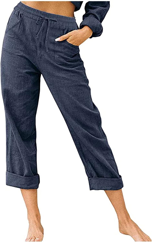 BEUU Summer Pants for Women Casual Pockets Cotton Linen Wide Leg Trousers Loose Drawstring Waist Capris Beach Crop Pants