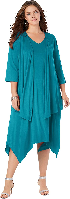 Roamans Women's Plus Size Relaxed Jacket Dress Set
