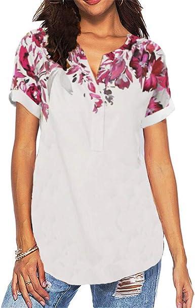 Camisa con Cuello en v Estampada para Mujer de Verano ...