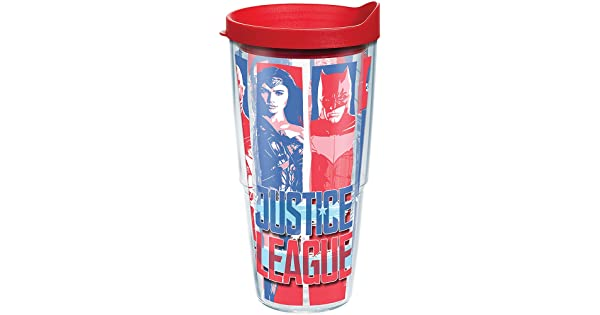 Tervis 1279534 Justice League Tumbler with Wrap and Red Lid 24oz Clear