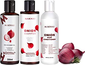 Makhai Naturals Hair Care Onion Shampoo(200ml), Onion Hair Conditioner(200ml), Onion Hair OiL(200ml) for hair Growth and Scalp Care (Combo of 3)
