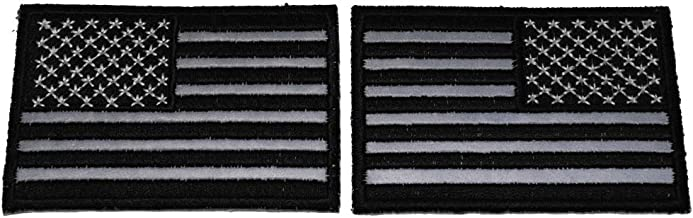 Left and Right Reflective Monochrome American Flag Patches 3 Inches - Iron on Patch - 3 inches