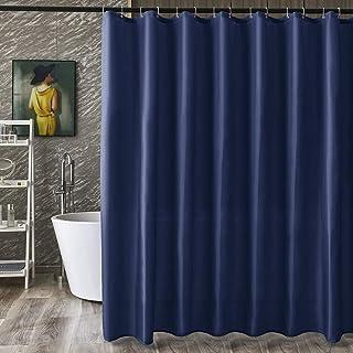 シャワーカーテン 速乾 お風呂用 目隠し 防カビ 防水 防寒 保温 高級感あり リング付き 120x180cm ネービー 1枚入り