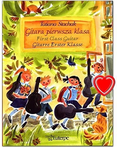 Gitarre erster Klasse - dreisprachige (Deutsch, Polnisch, Englisch) Gitarrenschule von Tatiana Stachak - mit herzförmiger Notenklammer