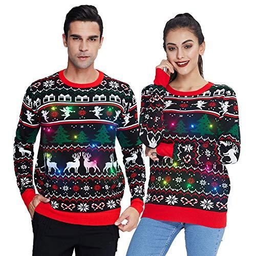 Spreadhoodie Weihnachtspullover Mit Beleuchtung Unisex Lustig Elf und Rentier Strickmuster Hässliche Pulli Herbst Winter Lange Ärmel Weihnachten Strickpullover Christmas Sweater Schwarz Rot XL