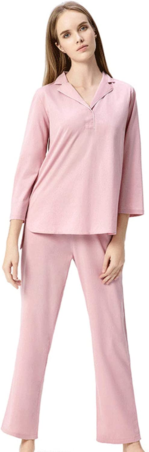 Autumn Winter Women's Pajamas Simple 100% Cotton VNeck Pure color Long Sleeve Loungewear Ideal for Ladies Girls Home Daily Wear,Pink