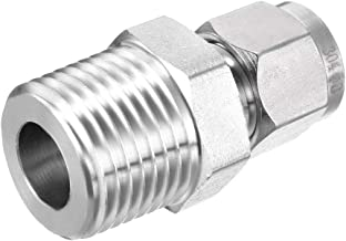 uxcell Stainless Steel Compression Tube Fitting 1/2-inch NPT Male x Ф8 Tube OD