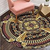 EmyTock - Tappeto rotondo in cotone, stile etnico europeo, per soggiorno, camera da letto, studio, tavolino da caffè, diametro 100 cm