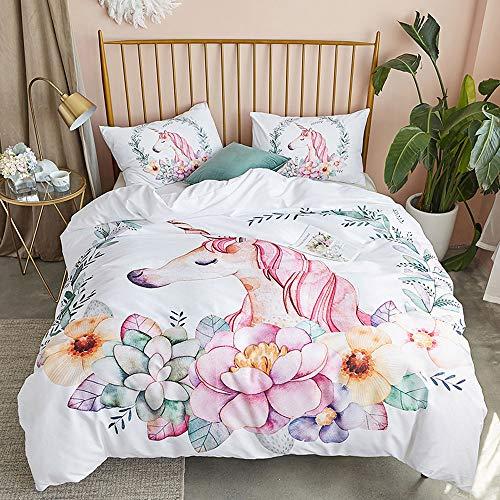 OLDBIAO Bettwäsche 135x200cm 3D Cartoon Einhorn Weiß, Kinder Mädchen Bettwaren, Soft Gebürstet Bettbezug mit Reißverschluss + 50x75cm Kissenbezug