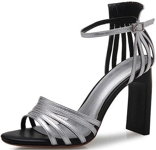 Sandales à Bride à La Cheville Bloc Haut Talon Mode Creux Peep Toe Les Les dames Partie Chaussures De Soirée