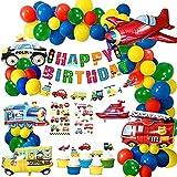 MMTX Globos Cumpleaños de Niños, Cumpleaños Decoraciones Transporte Tema Avión Tren Coche de policía Autobús Escolar Yate Camión de Bomberos Primeros de la Torta para Niño Cumpleaños Baby Shower