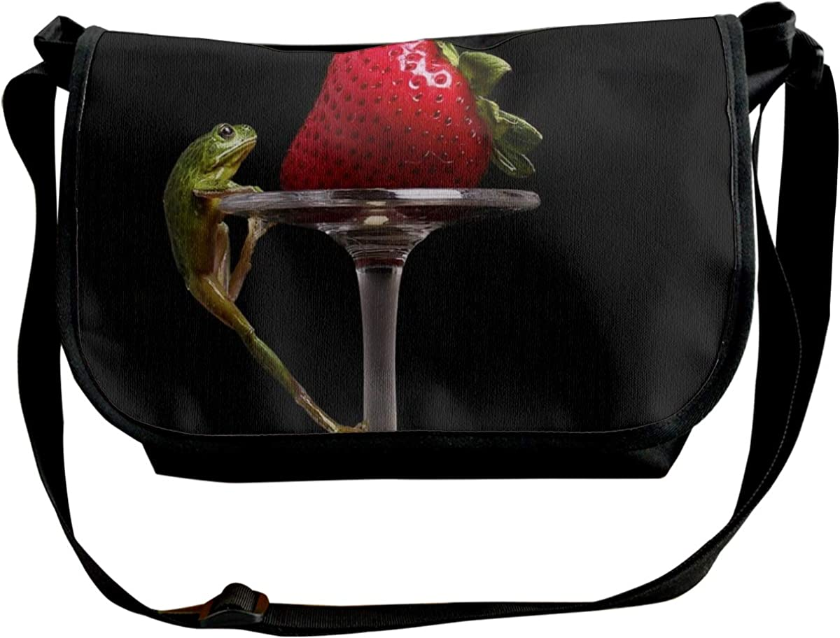 Classic Messenger High quality new Bag Strawberry Frog Animals Canvas Fruit Cool 70% OFF Outlet