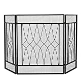 Funkenschutz Kamin Bildschirm Square Tri-Fold Curve Raute Dekorative Eisen 128x81x1cm Funkenschutzgitter (Color : Black, Size : 128x81x1CM)