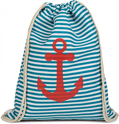 styleBREAKER gymnastiektas rugzak in maritiem ontwerp met strepen en ankerprint, sporttas, unisex 02012052, Farbe:Petrol-wit/rood