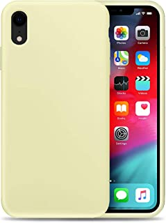 Compatible with Apple XR Liquid Silicone Phone Case Gel Rubber Full Body Protection Shockproof Cover Case Drop Protection for Apple iPhone XR Yellow