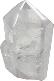 AMOYSTONE Natural Clear Quartz Crystal Pillar 6 Sided Prism Style Stone Small 1-2lb About 4-5