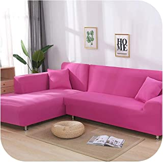 Asarahshop Stretch L Shaped Sofa Cover for Living Room Chaise Longue Sofa Cover Sectional Slipcover Corner Sofa Cover L Shape Elastic 2 pcs,Pink,1 Seater 90-140cm