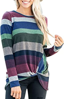 Women's Long Sleeve Striped Tunic Tops for Leggings Casual Swing Dress with Pockets