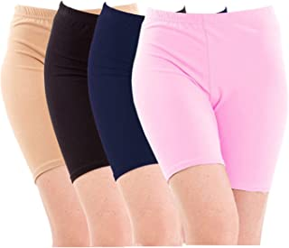 Pixie Biowashed Cycling Shorts for Girls/Women/Ladies Combo (Pack of 4) Beige, Black, Navy Blue, Baby Pink - Free Size