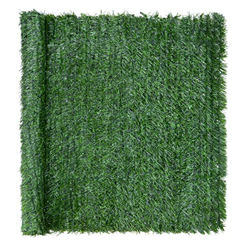 CHRISTOW Artificial Conifer Leaf Hedge Screening, Outdoor Garden Privacy Screen With Leaves, Wall Fence Panel, UV Resistant, H1m x W3m (3ft 3' x 9ft 10')