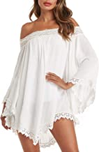 ZANZEA Women Off Shoulder Tops Lace Crochet Splice Long Sleeve Loose Beach Cover Shirt Mini Dress