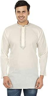 Maple Clothing Cotton Mens Short Kurta Shirt Embroidered Indian Dress