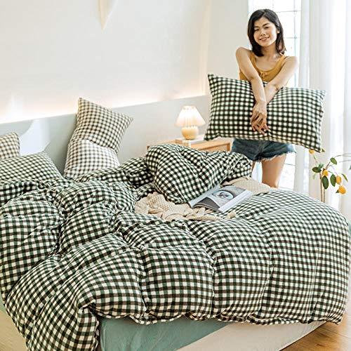 Coral Vaughan Teddy Polar Fleece Bettbezug aus Leinwandbindung und Kissenbezug Warmer Bettbezug extra großer Bettbezug-R Kaschmir kleines graues Gitter KL1_1,8 m 4-teilige Bettdecke