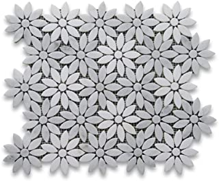Carrara White Mix Thassos Marble Daisy Flower Mosaic Tile Polished