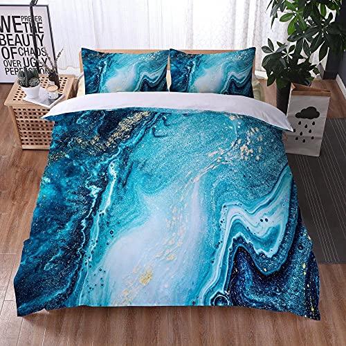 Bedclothes-Blanket Juego de sabanas Infantiles Cama 90,Ropa de Cama Juego de Tres Piezas de Almohadas 3D Impresión Digital de mármol Colorido-3_200x200cm