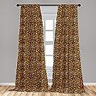 "Ambesonne Leopard Print Curtains, Spotty Jungle Safari Feline Print Wild Africa Inspiration Tile Pattern, Window Treatments 2 Panel Set for Living Room Bedroom Decor, 56"" x 84"", Orange Black"