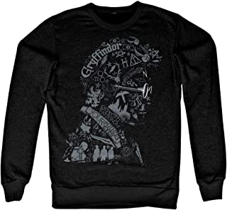 Harry Potter Officially Licensed Inked Wordings and Symbols Sweatshirt (Black)