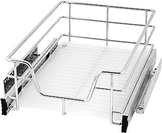 bremermann tiroir télescopique, tiroir de cuisine télescopique avec tablette, 40 cm (chromé)