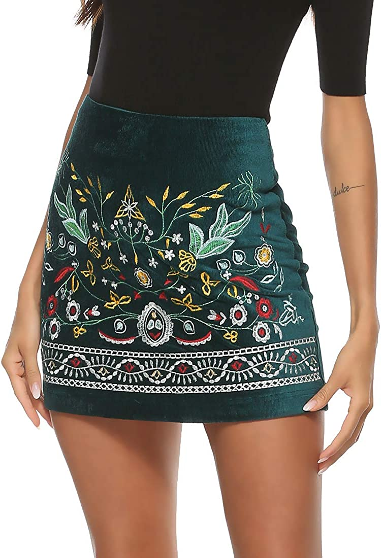 Limited time cheap sale AK Women's High Waist Embroidered Mini Above Miami Mall Boho Skirt K Floral