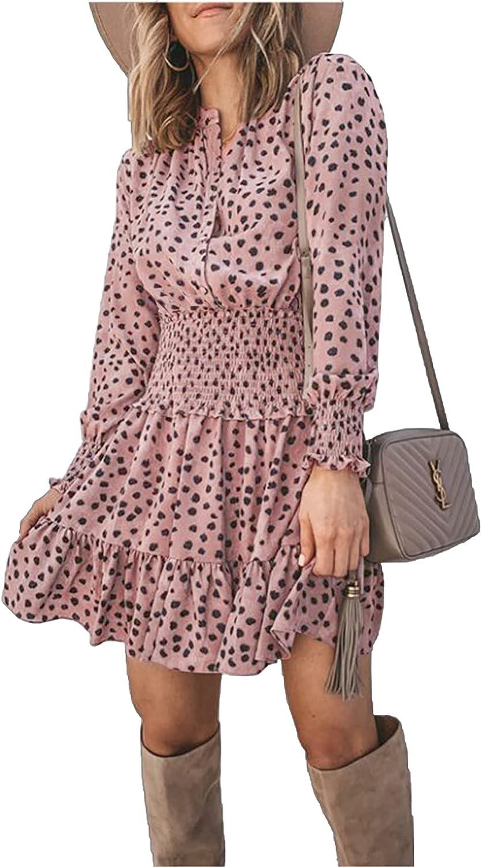 PRETTYGARDEN Women's Long Sleeve Ruffle Casual Boho Button Down Elastic Waist Mini Short Shirt Dress