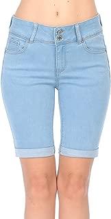 Jean Women's Juniors Butt I Love You High Rise Push-Up 2 Button Bermuda Denim Shorts