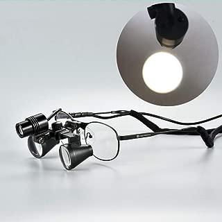 Songzi Optics (2.5X 3X 3.5X Optional) Titanium Frame Binocular Medical Dental Surgical Loupes with SZ-M06B Led Spot Headlight (Working Distance :(360-460 mm) R, Magnification:2.5X)