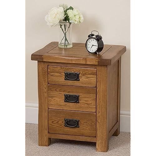 Cotswold Rustic Solid Oak 3 Drawer Bedroom Bedside Table, (50 X 41 X 59